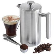 VonShef Edelstahl Kaffeebereiter Kaffeefilter mit Messlöffel und Beutelclip - 3 / 6 / 8 Tasse (8 Tasse/1000ml)